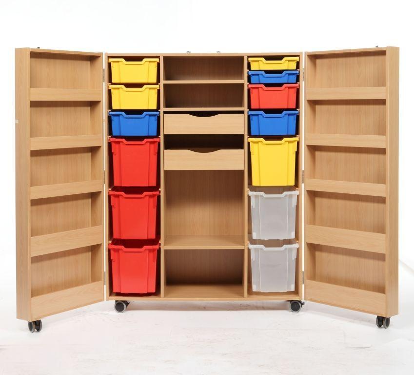 kita berlin materialschrank m rollen aufklappbar inkl kunststoffk sten kids und kita. Black Bedroom Furniture Sets. Home Design Ideas