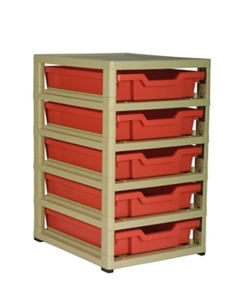 Gratnells Junior Storage GratStack Five Shallow mit Kästen