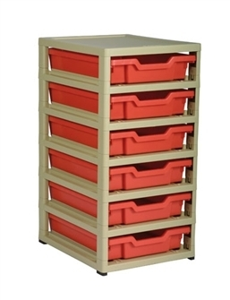 Gratnells Junior Storage GratStack Six Shallow mit Kästen