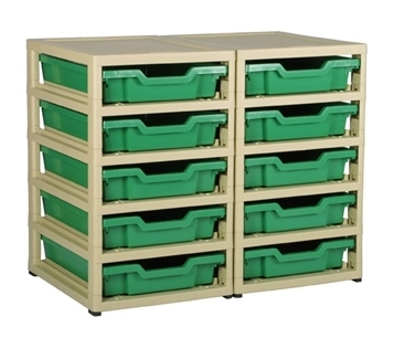 Gratnells Junior Storage Double GratStack Ten Shallow mit Kästen