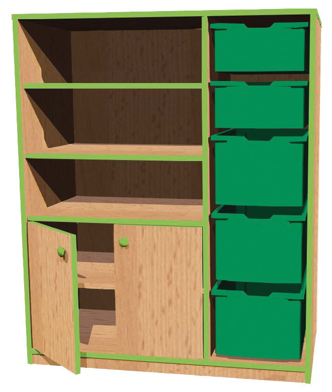kita bonn schrank basic 30 mit 5 boxen 100 x 121 x 45 cm kids und kita allyoureallyneed. Black Bedroom Furniture Sets. Home Design Ideas